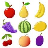Imposti la frutta disegnata a mano del fumetto Fotografia Stock Libera da Diritti