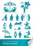 Imposti la gente di vacanza dell'icona Fotografia Stock