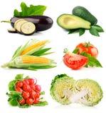 Imposti la verdura fresca con i fogli di verde e del taglio Fotografia Stock Libera da Diritti