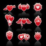 Imposti le icone dei cuori di colore rosso di giorno del biglietto di S. Valentino Immagini Stock Libere da Diritti