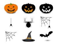 Imposti le icone di Halloween Fotografia Stock