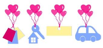 Imposti le modifiche dei biglietti di S. Valentino illustrazione di stock