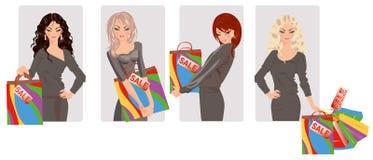 Imposti le ragazze di acquisto Immagini Stock Libere da Diritti
