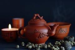 Imposti per la cerimonia di tè cinese Fotografia Stock Libera da Diritti