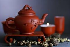 Imposti per la cerimonia di tè cinese Fotografie Stock Libere da Diritti