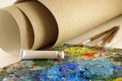 Imposti per la verniciatura con la tela di canapa Fotografie Stock