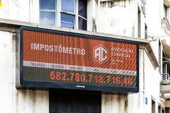Impostometro (Taxes that people in Brazil are paying) in Sao Paulo, Brazil. Stock Image