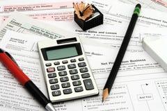 Impostos calculadores imagens de stock
