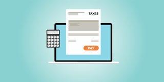 Impostos pagando em linha Imagem de Stock Royalty Free