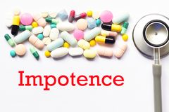 Impotence treatment. Drugs for impotence treatment, medical concept Royalty Free Stock Image