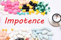 Impotence treatment. Drugs for impotence treatment, medical concept Stock Image
