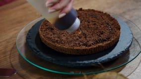 Impregnação com um xarope do biscoito do chocolate Cozendo um bolo do biscoito do chocolate video estoque