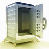 Impregnable shaded metallic opened bank vault illustration Stock Photos