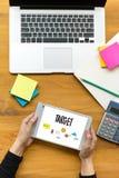 Imprenditore Business Venture Target ad espansione Marketi di scopi fotografie stock