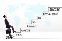 Imprenditore maschio con il piano di strategia sulle scale Immagine Stock