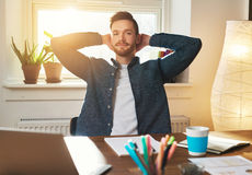 Imprenditore rilassato con un'espressione speculativa Immagine Stock Libera da Diritti