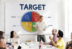 Imprenditore Strategy Target Concept di partenza di affari immagini stock