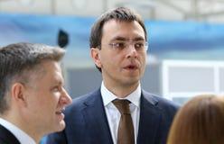 Imprensa-conferência de Ryanair no aeroporto de Kyiv-Boryspil, Ucrânia imagem de stock royalty free