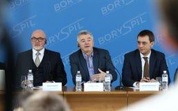 Imprensa-conferência de Ryanair no aeroporto de Kyiv-Boryspil, Ucrânia foto de stock royalty free