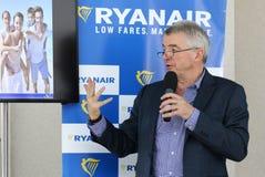 Imprensa-conferência de Ryanair no aeroporto de Kyiv-Boryspil, Ucrânia fotografia de stock