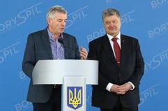 Imprensa-conferência de Ryanair no aeroporto de Kyiv-Boryspil, Ucrânia fotos de stock royalty free