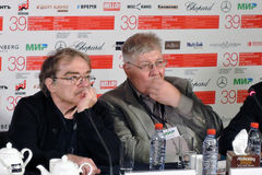 Imprensa-conferência, júri principal da competição do festival de cinema do International de Moscou Foto de Stock