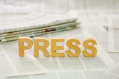 A imprensa da palavra imagens de stock royalty free