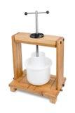 Imprensa de madeira para o queijo fotografia de stock
