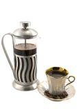 Imprensa do francês com chávena de café fotografia de stock royalty free