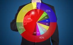 imprensa do homem de negócios na carta do círculo da estatística de negócio imagens de stock royalty free