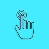 Imprensa preta do ícone da mão do esboço com sombra Fotos de Stock Royalty Free