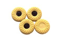 Imprense cookies com o isolador dos doces do creme, do mirtilo e de morango Imagem de Stock Royalty Free