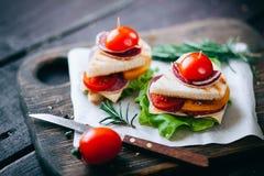 Imprense o brinde grelhado com queijo, salame, tomate e salada Foto de Stock