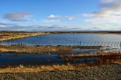 Impresa di piscicoltura ed il cielo blu Fotografia Stock