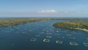 Impresa di piscicoltura nel mare Fotografia Stock