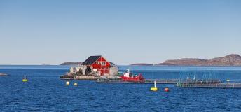 Impresa di piscicoltura norvegese per la crescita di color salmone Fotografia Stock Libera da Diritti