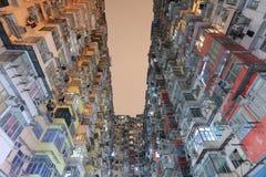 Impresa edile molto ammucchiata ma variopinta in Hong Kong Fotografie Stock