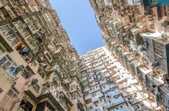 Impresa edile molto ammucchiata ma variopinta, Hong Kong Fotografie Stock Libere da Diritti