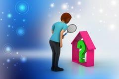 Impresa immobiliare con il punto interrogativo Fotografia Stock Libera da Diritti