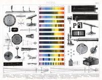 Impresión antigua 1874 de los instrumentos usados en el estudio de la astronomía y de la física óptica Imagen de archivo
