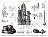 Impresión antigua 1874 del reloj gigante en la catedral de Munster Foto de archivo