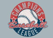 Impresión apenada liga de los campeones del béisbol ilustración del vector
