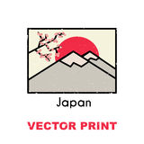 Impresión asiática de la camiseta También se pueden utilizar para una postal, la taza, el cartel, el imán u otra ropa y diseño de Fotos de archivo libres de regalías