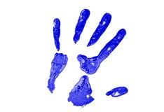 Impresión azul de la mano Foto de archivo libre de regalías