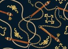 Impresión barroca con las cadenas de oro, llave de oro, perlas, correas, elments barrocos Remiendo del vector para la impresión,  libre illustration