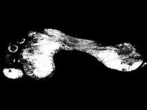 Impresión blanca del pie Foto de archivo