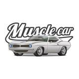 Impresión clásica de la camiseta del cartel del vector de la historieta del coche del músculo libre illustration