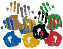 Impresión coloreada del palmas. Imagen de archivo libre de regalías