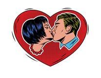 Impresión colorida del estilo del arte pop con los pares que se besan Imagen de archivo