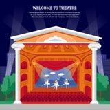 Impresión completamente colorida del cartel del funcionamiento de teatro Fotografía de archivo libre de regalías